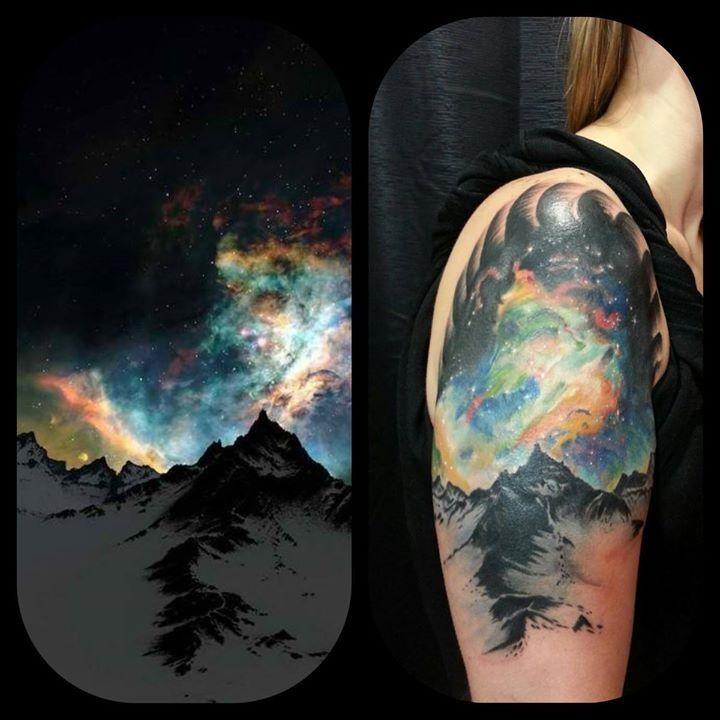 Aurora Borealis Tattoo By Eric Mills contact him at ericmills1111@yahoo.com