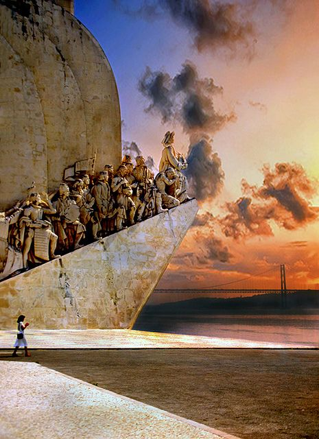 Sunset at the Monument to the Discoveries in Lisbon, Portugal