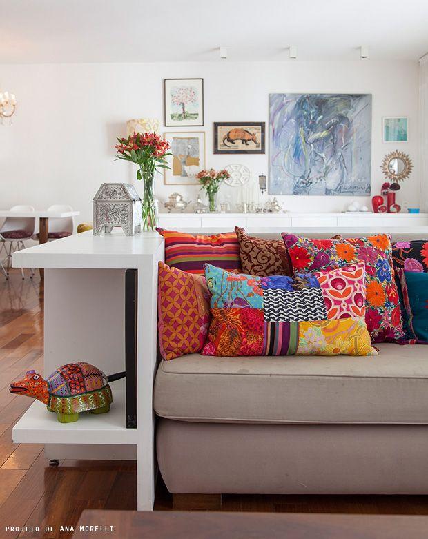 almofadas coloridas patchwork