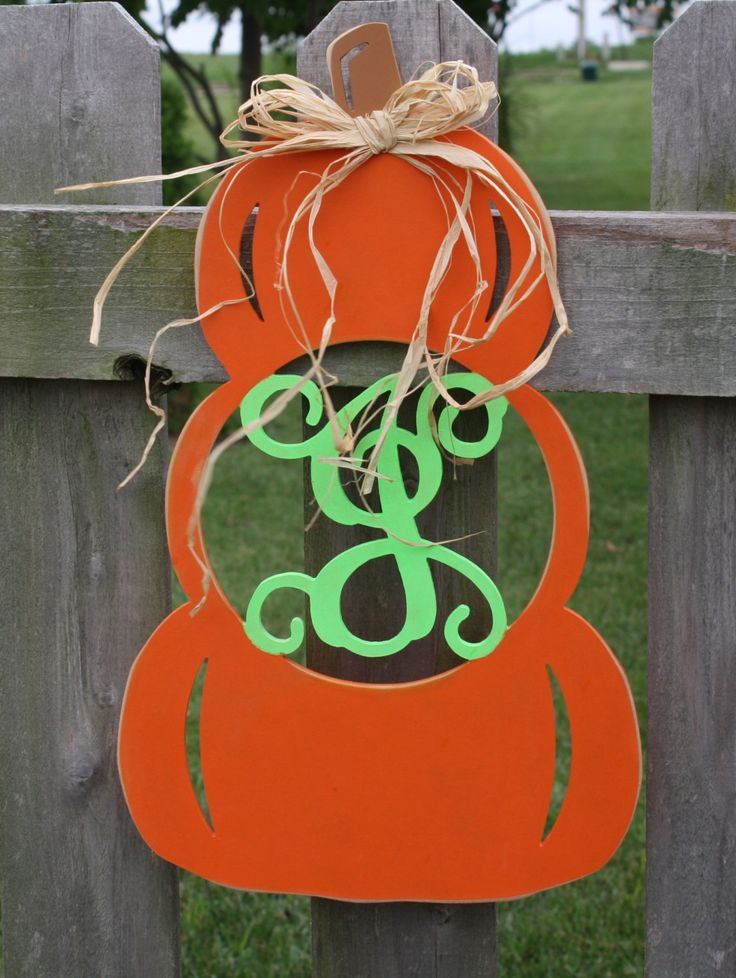 "Stacked Pumpkin Initial Door Hanging, Fall Decor, Door Hanging, Monogram Pumpkin, Gift, 18"" by GOalphabetsoup on Etsy"