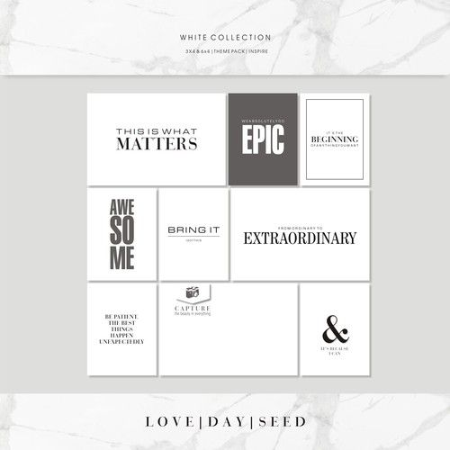 WHITE COLLECTION | THEME PACK | INSPIRE, $4.00