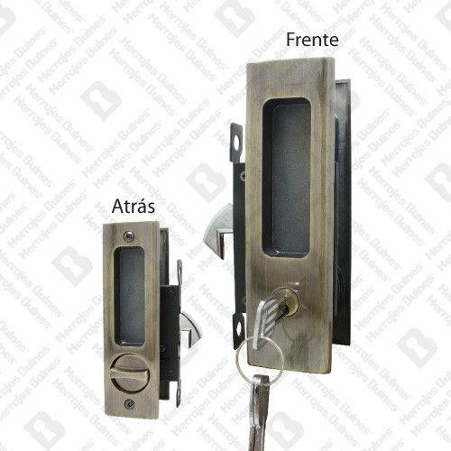 Cerradura de embutir para puerta corrediza con llave