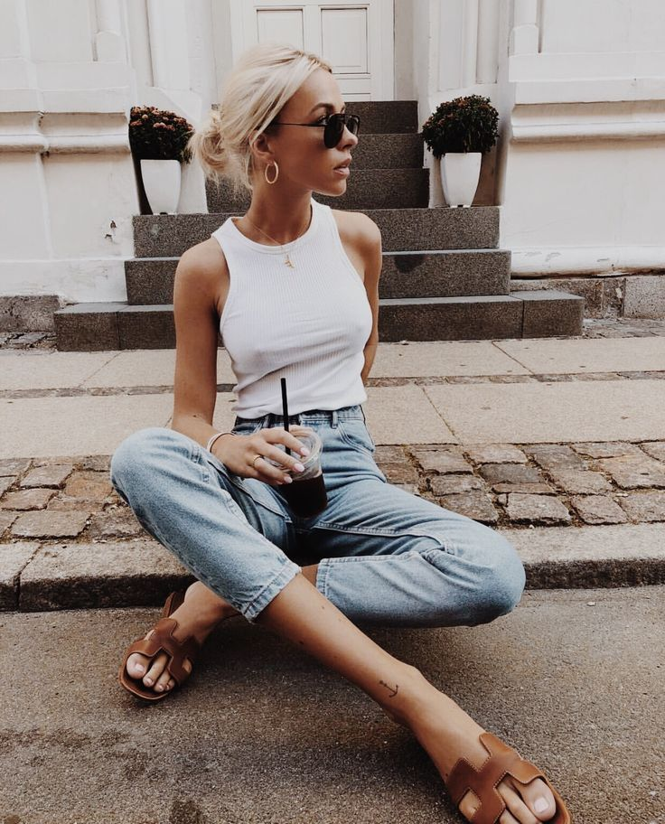 White tank, denim, brown sandals – casual fall outfit, spring outfit, style, outfit inspiration, millennial fashion, street style, boho, vintage, grunge, casual, indie, urban, hippie, hipster, minimalist, dresses, tops, blouses, pants, jeans, denim, jewelry, accessories