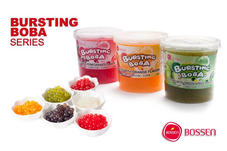 Bursting Boba by Bossen is a tapioca-like pearl with real fruit juice inside, and it makes a wonderful topping for your frozen yogurt, ice cream, or boba drink. Bursting Boba, a pop of fruity flavor, comes in blueberry, cherry, green apple, orange, passion fruit, peach, pomegranate, red guava, strawberry, lychee, mango, and yogurt flavors. It's ideal for frozen yogurt shops, parties, special events, or home enjoyment. Order online at www.bossenstore.com.