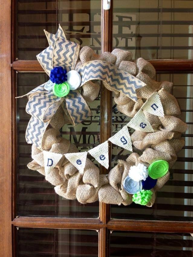 Baby boy shower decorations. Burlap door wreath.