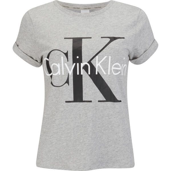 Calvin Klein Women's Logo Short Sleeve Crew Neck T-Shirt (€33) ❤ liked on Polyvore featuring tops, t-shirts, grey, cotton logo t shirts, crewneck tee, crew-neck tee, heather grey t shirt and cotton tees
