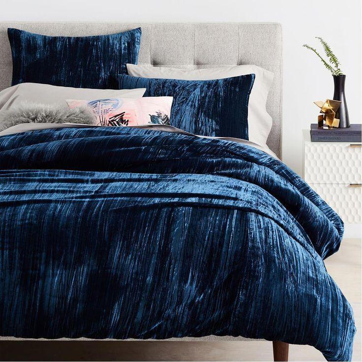 Crinkle Velvet Duvet Cover + Shams Regal Blue Velvet
