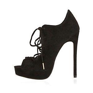 Zwarte suède hooggehakte schoenen met plateauzolen en veters