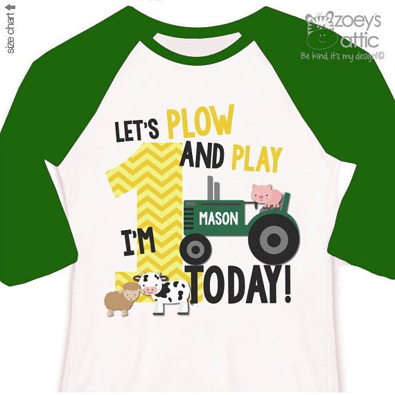 First 1st birthday shirt - green tractor plow and play farm birthday party RAGLAN shirt - with or without farm animals
