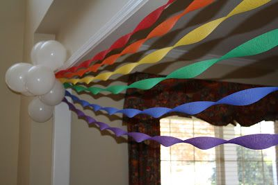 Maybe on the back of the house? Or smaller scale on front of tables?  I'm liking the balloon streamer combo to make a rainbow.