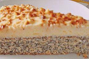Schneller Mohnkuchen ohne Boden - statt Mehl gemahlene Mandeln, statt Haselnusskrokant gehackte Haselnüsse nehmen, außerdem Zucker ersetzen