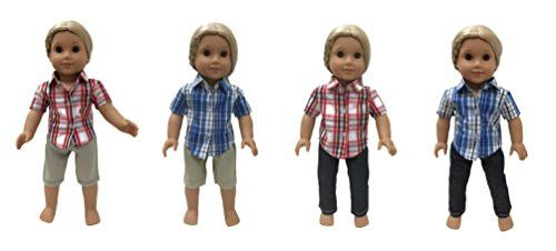 Glamerup Exclusive: Peyton (Doll Mix and Match Outfit Sets) - Limited 4 Complete Looks - Blue Shirt, Red Shirt, Khaki and Jeans Unisex Outfits. Sized for Most 18 inch Dolls
