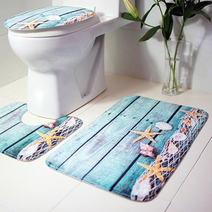 3 pcs Bath Mats Ocean Underwater World Anti Slip Bathroom Mat Set  Coral Fleece  #GUIGUIHU #Modern