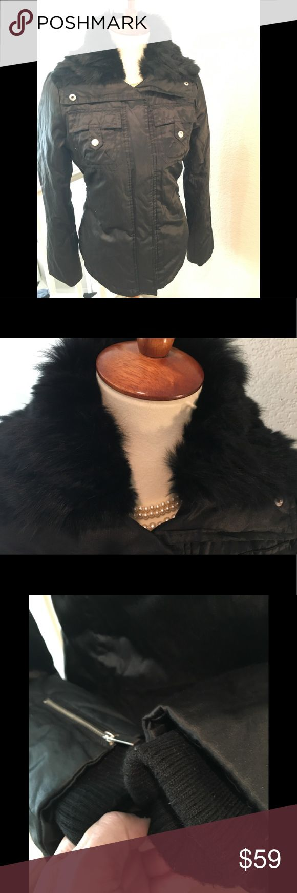 bebe Sport Rabbit Fur Collared Black Jacket Size S bebe Sport Black Jacket with Real Rabbit Fur Collar . Size Small . Coat lightly down filled. Satiny Shiny fabric 👌 EUC. Only flaw upon inspection are the belt loops were cut off . See last photo /reflected in price . Double zipper , zippers and snaps all functional ✅Size Small , this fit my 4-6 mannequin with a little room to spare 👌🙌 This is medium weight jacket , should be warm . Fur collar not removable. Shiny silver zip & snaps . Bust…