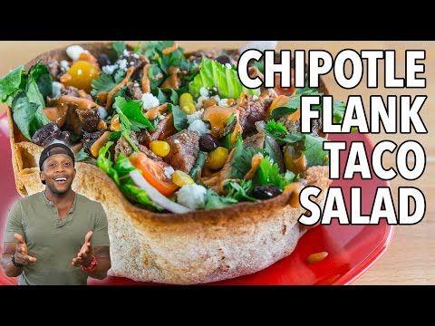 Chipotle Flank Steak Taco Salad: 515 calories, 53g carbs, 15g fat, 43g protein