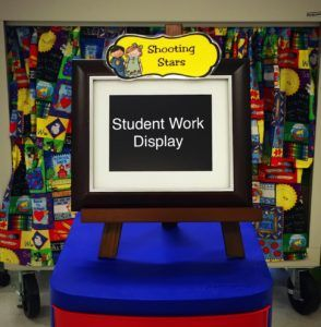 Digital Photo Frame for Student Work Display in the Classroom.   This is a stress free way to display my students work. I no longer have to worry about how to keep work displayed on cinder block walls.