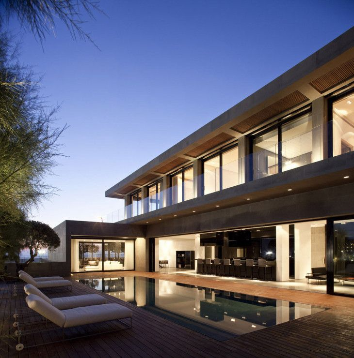 Architecture Night Views Luxury Prefab Home Design Picture With Modern Rectangle Style Outdoor Pool Complete With The Lounge Chairs Furniture And Beautiful Interior Lighting - pictures, photos, images