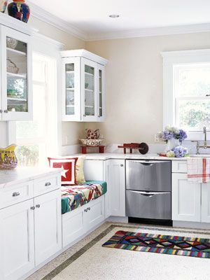 great window seat and cabinets