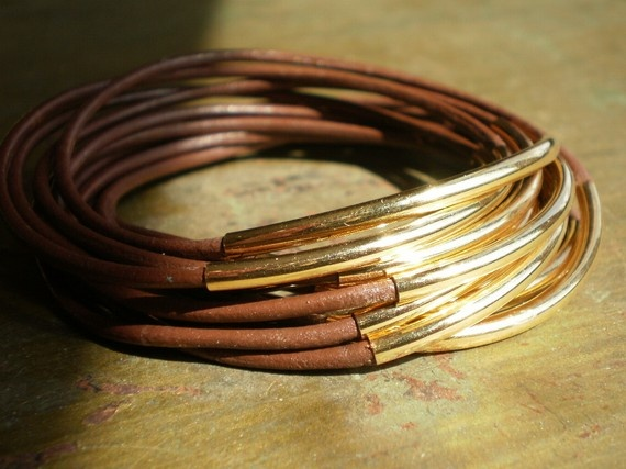 leather and gold bangles: Style, Etsy, Double Stacking, Bounty Bangles, Stacking Galveston, Gold Bangles, Galveston Leather