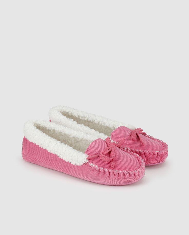 Zapatillas de casa de mujer Énfasis de color rosa con borreguito interior