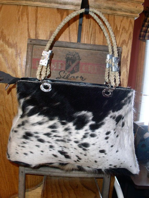 black and white cowhide purse with lariat by Vintagewesterndesign, $95.00