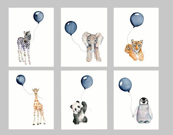 Baby animals print set for nursery- navy blue *** Set of 6 Vertical prints from my original watercolor paintings use the drop down box to select your size 3 sizes available.... 5 X 7, 8 X 10 and 11 X 14 *** printed on 100% archival cotton rag fine art paper - 2 colors available.... white or natural white/off white *** Epson Ultra chrome archival pigment inks are used *** prints will be shipped inside a protective sleeve inside a stiff photo mailer *** copyright mark will not appear...