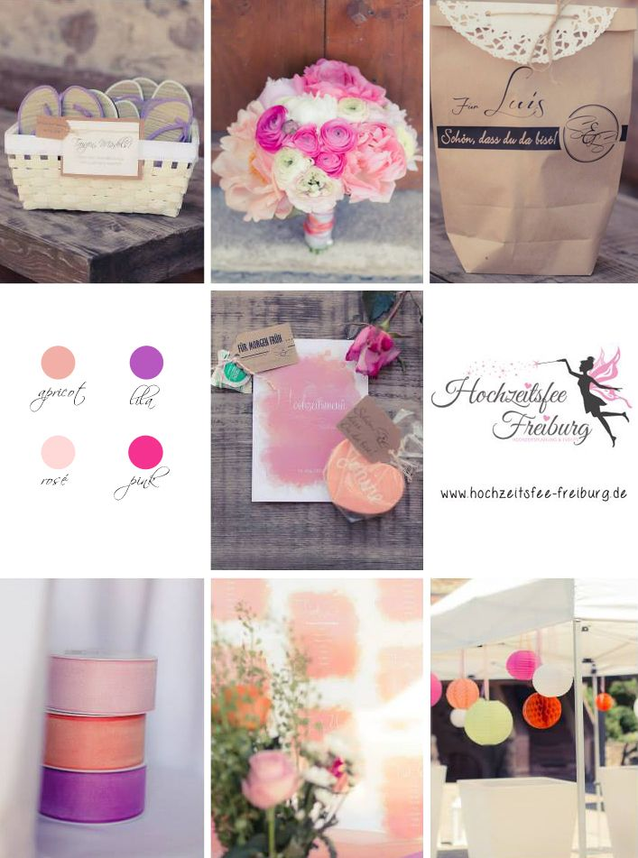 Hochzeit in apricot, lila, rosé und pink | Planung und Umsetzung: Hochzeitsfee Freiburg, Hochzeitsplanung & Events | www.hochzeitsfee-freiburg.de