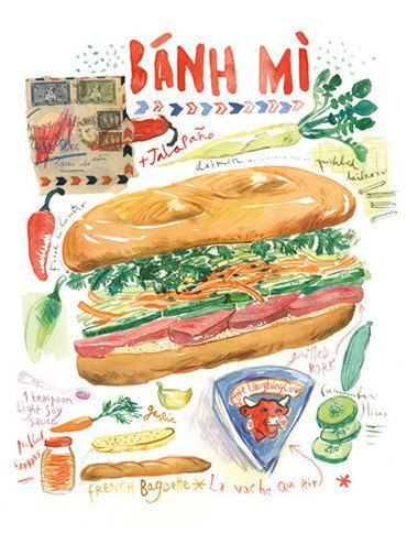 Vietnamese sandwich Banh Mi watercolor recipe illustration print, 8X10 poster, Kitchen art, Asian street food, Global cuisine wall decor via Etsy