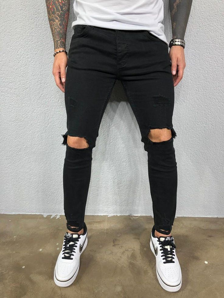 Behind The Scenes By streetwvr Ripped Jeans Style, Black Ripped Jeans, Denim Pants, Skinny Jeans, Men's Jeans, Casual Pants, Men Casual, Denim Cotton, Street Wear