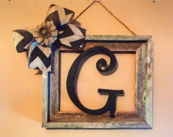 Large Stained Rustic Initial Frame Initial Frame by AllThatsRustic
