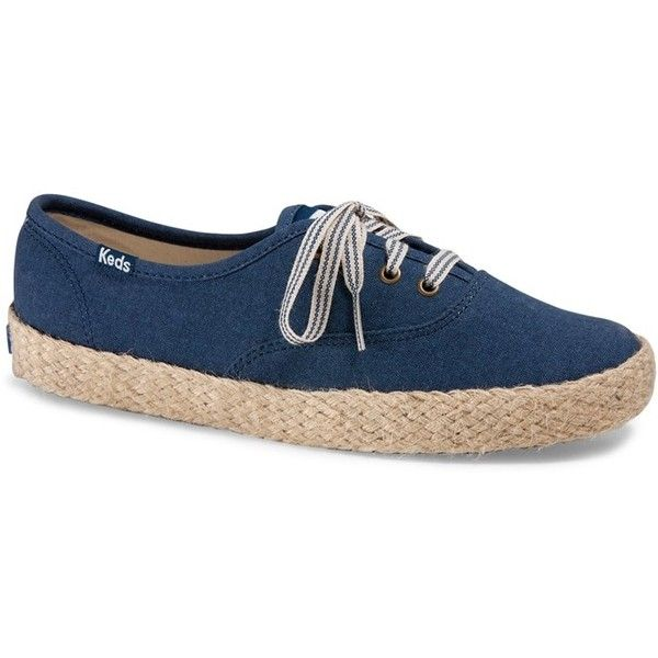 Forever21 Keds Espadrille Tennis Shoes (96 BAM) ❤ liked on Polyvore featuring shoes, sandals, navy, espadrille sandals, platform shoes, platform espadrilles, navy platform sandals and low heel sandals