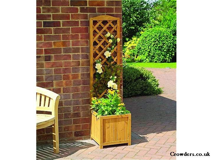 High Quality Wooden Trellis Planter Brown By Gardman Image 1