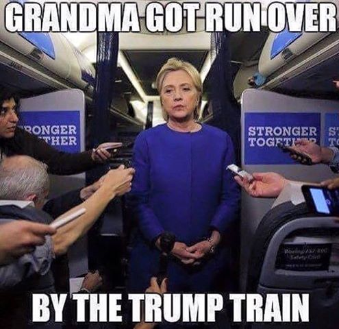 Choo choo!. Priceless Hillary down in the mouth, What difference does it make?, plain old Mrs Bill Clinton