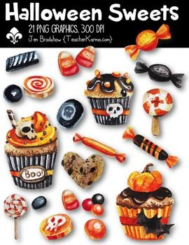 Halloween Sweets Clipart!  CANDY!  You will LOVE these ** 21 ** water colored graphics that are so much FUN! They are absolutely perfect for adding to parent newsletters, literacy and writing stations, activities, printables and student worksheets, class invitations, etc.