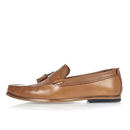 Tan brown leather tassel loafers £50.00