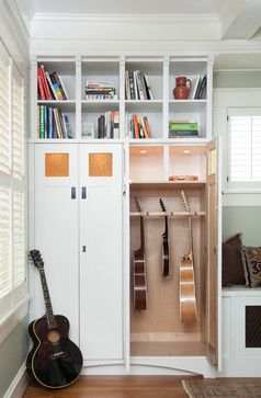 idea for the office, guitars on one side, space for files + other things