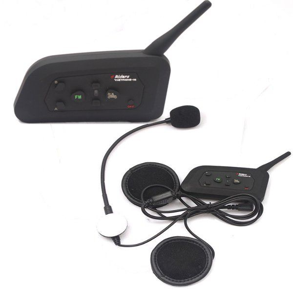 2pc 1000M 4 People Group Talking Helmet Intercom EU Plug With Bluetooth No Need Change Channels