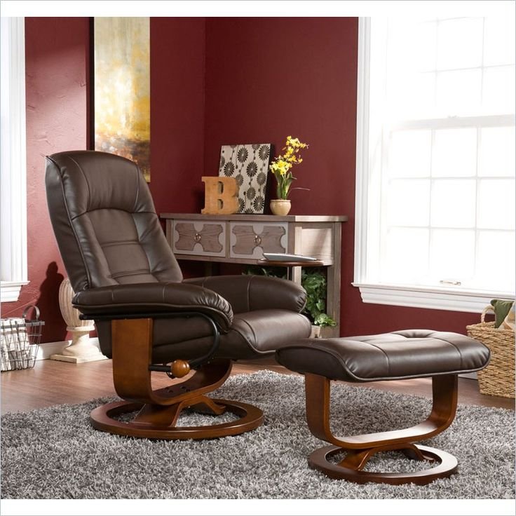 Bonded Leather Recliner And Ottoman   Coffee Brown