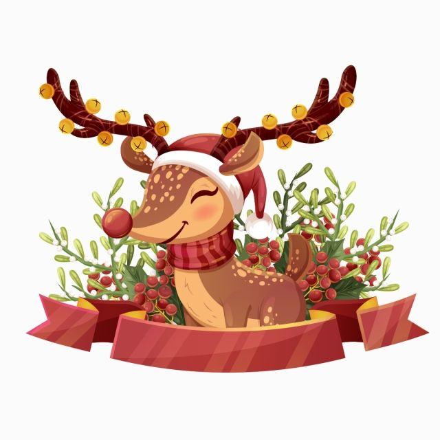 Deer Clipart Elk Red Bell Hand Painted Elk Watercolor Elk Fawn Merry Christmas Christmas Libray Christmas Picture L Christmas Deer Christmas Pictures Christmas