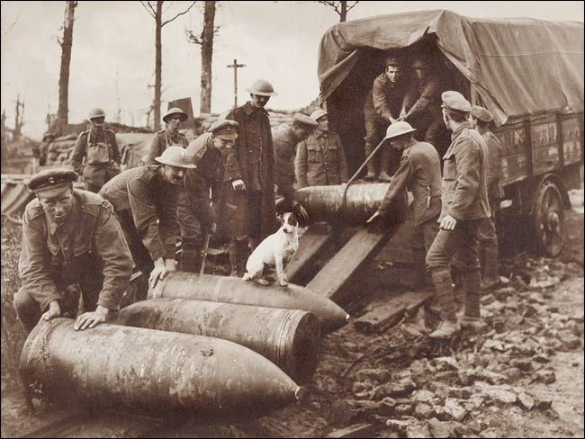 Photo by Frank Hurley, 5 Oktober 1917. Crew of 2 Gun, Royal Marine Artillery unloading 15 inch Howitzer shells on the Menin Road, in the Ypres Sector. These shells weigh 1,400lbs, their explosion makes a crater averaging over 15 feet deep and 15 yards across, and splinters and fragments have an effective radius exceeding 800 yards.    Note the dog sitting on one of the shells. He was adopted and fed by the gunners and used to sleep under the gun at night.