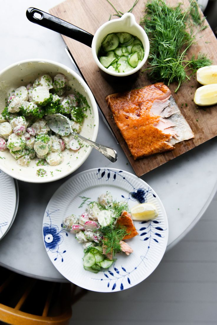 Hot Smoked Salmon, Pickled Cucumbers and Creme Fraiche Potatoes with Dill and…