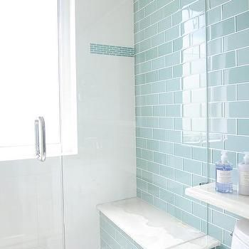 Blue Glass Subway Shower Tiles with Gray Mosaic Shower Floor, Contemporary, Bathroom