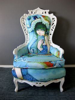Camilla d'Ericco Upholstered Throne Chair by Rubbish Rehab