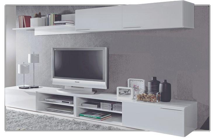 Mueble de sal n modular efecto vintage y vitrina salons for Mueble modular salon