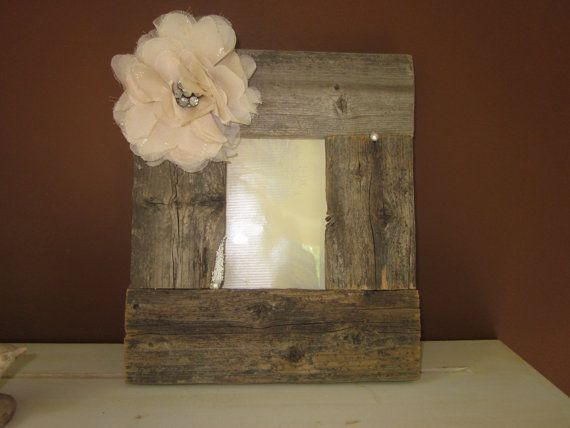 Rustic Picture Frame with Flower by SeeHaven on Etsy, $35.00