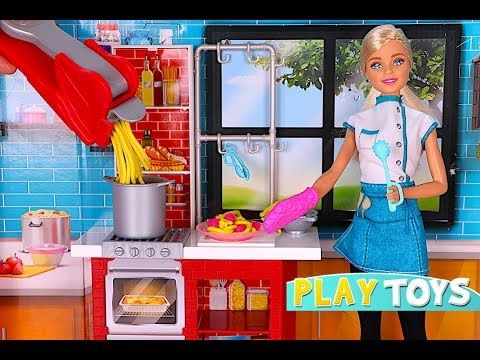 Barbie doll kitchen toys - Participating in BARBIE CHEF cooking pasta toy food items & Barbie doll morning regime - http://howto.hifow.com/barbie-doll-kitchen-toys-participating-in-barbie-chef-cooking-pasta-toy-food-items-barbie-doll-morning-regime/