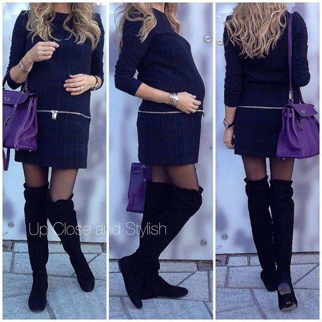 .@upcloseandstylish | Today -  #Zara dress, #HM maternity tights, #MarcByMarcJacobs suede boots (2-...