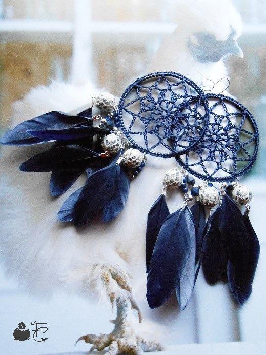 Boucles d'oreilles pendantes Attrape rêves Dreamcatcher Tendance Ethnique - Pampilles - Perles - Plumes : Boucles d'oreille par fibule-et-cabochon