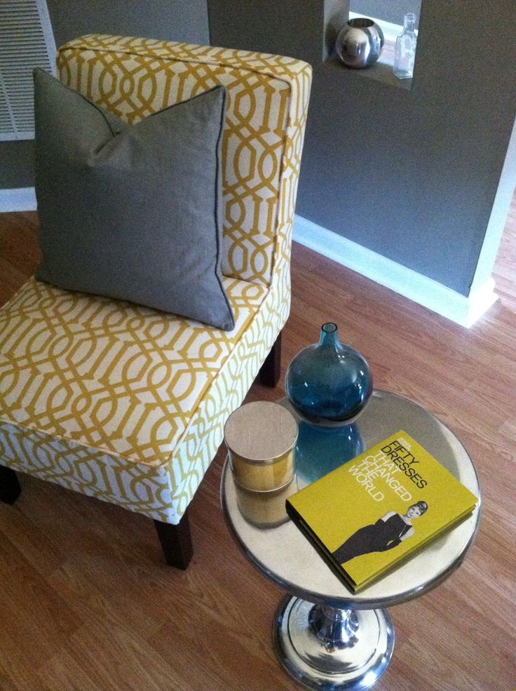 yellow teal and gray decor chair from target table from tj max book from amazon teal vase. Black Bedroom Furniture Sets. Home Design Ideas