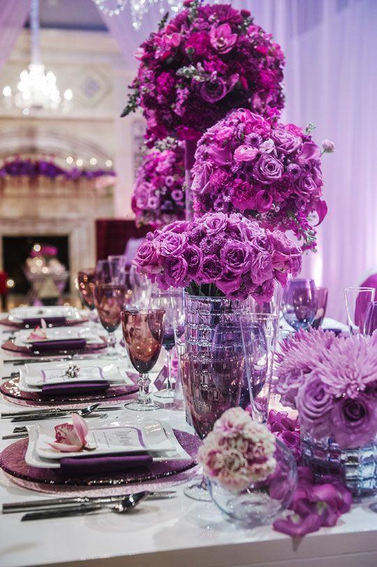 Luxury Purple Wedding Reception Tablescape Centerpiece Flower Decor Dana Todd Photography via CeremonyBlog.com